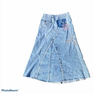 Patchwork floral Embroidery denim full skirt